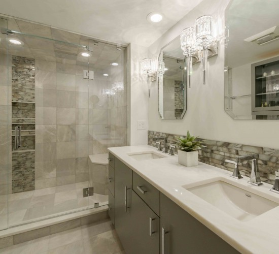 transitional and modern bath